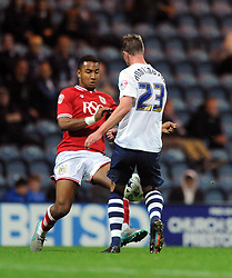 Liam Moore of Bristol City closes down Paul Huntington of Preston North End - Mandatory byline: Dougie Allward/JMP - 07966386802 - 15/09/2015 - FOOTBALL - Deepdale Stadium -Preston,England - Bristol City v Preston North End - Sky Bet Championship