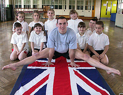 Pupils fromfrom Intake Junior school take part in Get fit Kids with the jelp of a visit from National Tumbling Squad member of team GB Glenn Smith