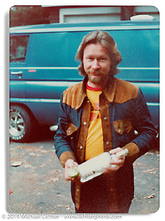 Arlen Ness on a visit to the East Coast in Laconia for the motorcycle rally with Dave Perewitz. Photo ©1976 Dave Perewitz Archive Photo