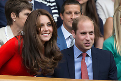 © London News Pictures. HRH The Duke & HRH The Duchess of Cambridge at centre court to watch  Andrew Murray (GB) play Vasek Pospisil (CAN) in the men's Wimbledon Tennis Championships today. 07.07.2015. Photo credit: LNP