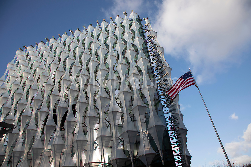 Exterior of the new US Embassy building in the Nine Elms area of Wandsworth, London, England, United Kingdom. The Embassy of the United States of America in London is the diplomatic mission of the United States in the United Kingdom. It is the largest American embassy in Western Europe and the focal point for events relating to the United States held in the United Kingdom.