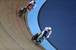 Ryan Owens of Great Britain and Aleksei Trachev of Russia during the Men's Sprint 1/16 Finals during day three of the Tissot UCI Track Cycling World Cup at Lee Valley VeloPark, London.