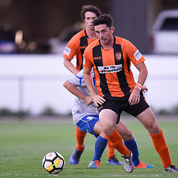 BRISBANE, AUSTRALIA - JANUARY 8: Scot Coulson of Easts in action during the Kappa Silver Boot Group A match between Brisbane Strikers and Eastern Suburbs on January 8, 2017 in Brisbane, Australia. (Photo by Patrick Kearney)