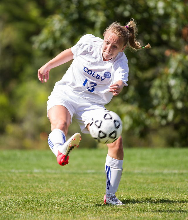Kate Laxson, of Colby College, in an NCAA Division III college soccer game against Middlebury College at Colby College, Thursday Sept. 15, 2012 in Waterville, ME. (Dustin Satloff/Colby College Athletics)