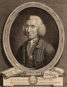 William Bowyer the Younger (1699-1777) known as 'The Learned Printer, prominent English printer and author. Printer to the House of Commons (1729), the Society of Antiquaries (1726), the Royal Society (1761). Drawn from life and engraved by James Basire (1730-1802)