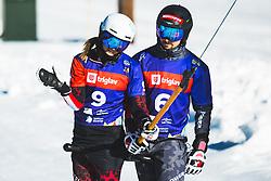 Julia Dujmovits (AUT) with Lukas Mathies (AUT) during parallel giant slalom FIS Snowboard Alpine world championships 2021 on 1st of March 2021 on Rogla, Slovenia, Slovenia. Photo by Grega Valancic / Sportida
