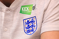 Close up of the England crest and Kick It Out logo during a press conference at The King Power Stadium, Leicester.