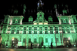 The City Hall of Paris illuminated in green following the annoucement by US president Donald Trump in Paris, France on June 1, 2017. Photo by Alain Apaydin/ABACAPRESS.COM