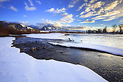 Winter arrives along the banks of the Yellowstone River in the Paradise Valley