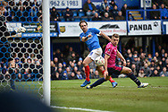 Portsmouth Forward, Brett Pitman (8) wth a shot at goal during the The FA Cup fourth round match between Portsmouth and Queens Park Rangers at Fratton Park, Portsmouth, England on 26 January 2019.