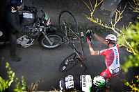 Sykkel<br /> 13.04.2014<br /> Foto: PhotoNews/Digitalsport<br /> NORWAY ONLY<br /> <br /> Mechanical problems for Kristoff Alexander (Nor - Team Katusha)   pictured during Paris - Roubaix 2014