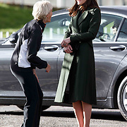 The Duchess of Cambridge (R) with Judy Murray (L) at Craigmount High School, Edinburgh, Scotland to see how Judy Murray's Tennis on the Road is promoted in schools.  24-02-16