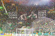 The Green Brigade ahead of kickoff during the Europa League match between Celtic and CFR Cluj at Celtic Park, Glasgow, Scotland on 3 October 2019.