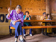 "13 JULY 2012 - FT DEFIANCE, AZ:  Women pray in the chow hall at the 23rd annual Navajo Nation Camp Meeting in Ft. Defiance, north of Window Rock, AZ, on the Navajo reservation. Preachers from across the Navajo Nation, and the western US, come to Navajo Nation Camp Meeting to preach an evangelical form of Christianity. Evangelical Christians make up a growing part of the reservation - there are now more than a hundred camp meetings and tent revivals on the reservation every year. The camp meeting in Ft. Defiance draws nearly 200 people each night of its six day run. Many of the attendees convert to evangelical Christianity from traditional Navajo beliefs, Catholicism or Mormonism. ""Camp meetings"" are a form of Protestant Christian religious services originating in Britain and once common in rural parts of the United States. People would travel a great distance to a particular site to camp out, listen to itinerant preachers, and pray. This suited the rural life, before cars and highways were common, because rural areas often lacked traditional churches.   PHOTO BY JACK KURTZ"