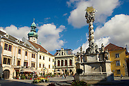 The Holy Trinity Statue, the first Baroque twisted coloumn in Central Europe. 1695-1701  - Fo Square - Sopron, Hungary .<br /> <br /> Visit our HUNGARY HISTORIC PLACES PHOTO COLLECTIONS for more photos to download or buy as wall art prints https://funkystock.photoshelter.com/gallery-collection/Pictures-Images-of-Hungary-Photos-of-Hungarian-Historic-Landmark-Sites/C0000Te8AnPgxjRg