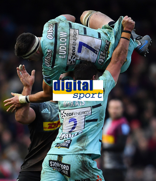 Rugby Union - 2019 / 2020 Gallagher Premiership - Harlequins vs. Gloucester<br /> <br /> Gloucester's Lewis Ludlow claims a restart, at The Stoop.<br /> <br /> COLORSPORT/ASHLEY WESTERN