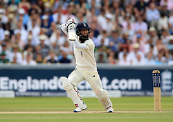 England's Moeen Ali bats during day four of the First Investec Test match at Lord's, London. PRESS ASSOCIATION Photo. Picture date: Sunday July 9, 2017. See PA story CRICKET England. Photo credit should read: Nigel French/PA Wire. RESTRICTIONS: Editorial use only. No commercial use without prior written consent of the ECB. Still image use only. No moving images to emulate broadcast. No removing or obscuring of sponsor logos.