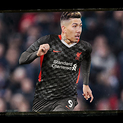 """LIVERPOOL, ENGLAND - Friday, September 11, 2020: A mock up of Liverpool's Roberto Firmino wearing the new Nike third kit for the 2020/21 season. LFC say """"it's design is heavily influenced by the array of chequered flags and banners that decorate the Kop each home game during European competitions."""" (Credit: ©Liverpool FC)"""