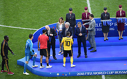 July 14, 2018 - Saint Petersbourg, Russie - SAINT PETERSBURG, RUSSIA - JULY 14 : Nacer Chadli midfielder of Belgium, FIFA President Gianni Infantino, President of the Royal Belgian Football Association Gerard Linard, Eden Hazard midfielder of Belgium during the FIFA 2018 World Cup Russia Play-off for third place match between Belgium and England at the Saint Petersburg Stadium on July 14, 2018 in Saint Petersburg, Russia, 14/07/18 (Credit Image: © Panoramic via ZUMA Press)
