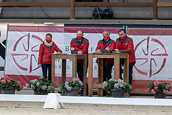 Jury dressuur hengsten, Govaerts Jef, De Waele Jean Pierre, Heylen Tom  <br /> Hengstenkeuring BWP- Azelhof - Lier  2021<br /> <br /> © Hippo Foto - Dirk Caremans<br /> 12/04/2021