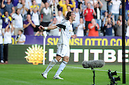 Swansea city's Michu celebrates after he scores his sides 2nd goal. UEFA Europa league, play off round, 1st leg match, Swansea city v FC Petrolul Ploiesti at the Liberty stadium in Swansea on Thursday 22nd August 2013. pic by Andrew Orchard , Andrew Orchard sports photography,