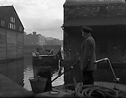 Canal Scene- with Barge - St James Gate. .20/01/1959, Transport at Guinness Brewery, St James's Gate, Dublin. Horse and Dray and barges at James St. Harbour. Richardsons owned transport for Guinness, CIE Owned harbour, storage and barges, transporting Guinness, to the midlands and, turf, back to Dublin,