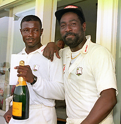 Man of the match Richie Richardson (l) with the West Indies captain Viv Richards after the Fourth Cornhill Test match at Edgbaston.
