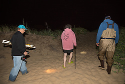 Jerry Hequembourg, Karen Strauss, & Mike Long Departing Horseshoe Crab Survey
