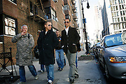 Saturday October 14th 2006. New York, New York. United States..Red Bulls French soccer player Youri Djorkaeff on 20th street in the morning of a game that could be his last one as a professional player against Kansas City at the Giants Stadium. From right to left: Youri Djorkaeff, Jean Paul (his cousin), Serge (another cousin), and behind, Micha (his younger brother).
