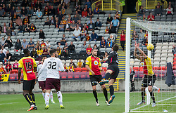 Hearts Callum Paterson scoring their goal. half time - Partick Thistle 0 v 1 Hearts, Ladbrokes Premiership match played 27/89/2016 at Firhill.