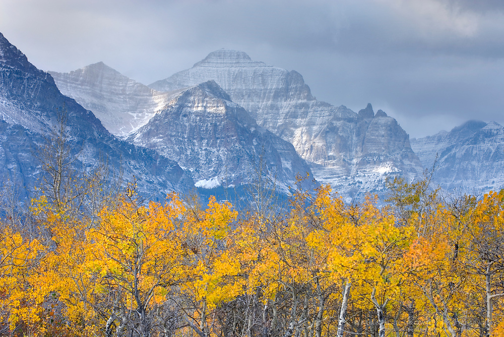 Autumn scene in Glacier National Park Montana near Saint Mary Lake
