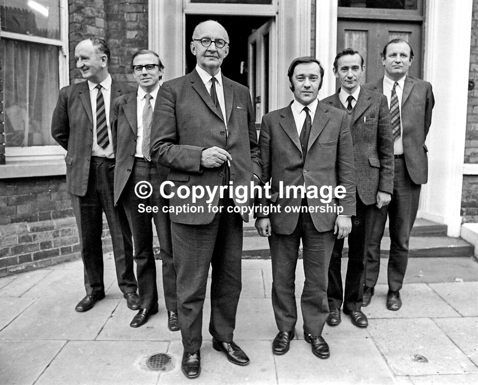Alliance Party of N Ireland delegates to the Darlington Conference on political options for N Ireland pictured outside their headwuarters in University Street, Belfast, on 24 September 1972. Left to right: Bertie McConnell, MP, Bangor, Denis Loretto, MP, Mid Down, Phelim O'Neill,  Bob Cooper, Oliver Napier, and Jim Hendron, Missing from the group is Tom Gormley. Phelim O'Neill, the former Ulster Unionist MP and Minister, was his party's leader for the Darling Talks. 197209240584.<br /> <br /> Copyright Image from Victor Patterson, Belfast, UK<br /> <br /> t: +44 28 9066 1296 (from Rep of Ireland 048 9066 1296)<br /> m: +44 7802 353836<br /> e: victorpattersonbelfast@gmail.com<br /> <br /> www.images4media.com<br /> <br /> Please see my full Terms and Conditions of Use at https://www.images4media.com/p/terms-conditions - it is IMPORTANT that you familiarise yourself with them.<br /> <br /> Images used online incur an additional cost. This cost should be agreed in writing in advance. Online images must be visibly watermarked i.e. © Victor Patterson or that of the named photographer within the body of the image. The original metadata must not be deleted from images used online.<br /> <br /> This image is only available for the use of the download recipient i.e. television station, newspaper, magazine, book publisher, etc, and must not be passed on to a third party. It is also downloaded on condition that each and every usage is notified within 7 days to victorpattersonbelfast@gmail.com.<br /> <br /> The right of Victor Patterson (or the named photographer) to be identified as the author is asserted in accordance with The Copyright Designs And Patents Act (1988). All moral rights are asserted.