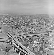 Y-760723B-10. Emanuel Hospital. Fremont Bridge ramps. July 23, 1976