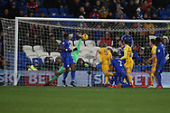 Tom Clarke of Preston North End (5) scores his teams 1st goal. EFL Skybet championship match, Cardiff city v Preston North End at the Cardiff city stadium in Cardiff, South Wales on Friday 29th December 2017.<br /> pic by Andrew Orchard, Andrew Orchard sports photography.