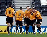 Photo: Jed Wee/Sportsbeat Images.<br /> Hull City v Cardiff City. Coca Cola Championship. 01/12/2007.<br /> <br /> Hull celebrate with goalscorer Stephen McPhee (10).