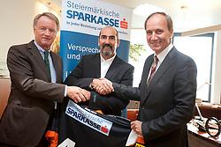 07.09.2011, Sparkassen Center, Graz, AUT, EBEL, 99ers Pressekonferenz, im Bild Jochen Pildner-Steinburg (99ers Präsident), Mario Richer (99ers Headcoach) und Franz Kerber (Steiermärkische Sparkasse Vorstand) // during a 99ers Press-Conference, Sparkassen Center, Graz, Austria, 2011-09-07, EXPA Pictures © 2011, PhotoCredit: EXPA/ E. Scheriau