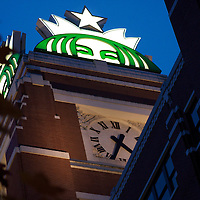 Under the watchful gaze of the green mermaid known as Starbucks, at the HQ in Seattle