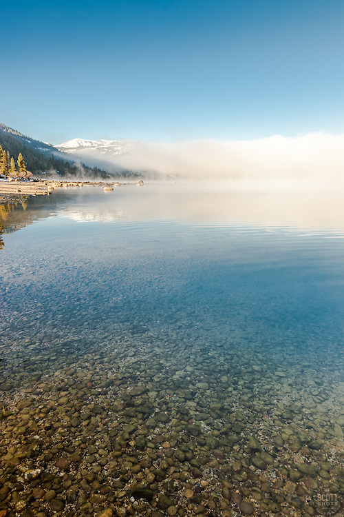 """""""Donner Lake Morning 15"""" - Photograph of a foggy Donner Lake in Truckee, California with Donner Summit in the background."""