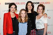 Perspresentatie van de cast van de film 'Smoorverliefd' in het Bel Air Hotel, Den Haag.<br /> <br /> Op de foto:  Anna Drijver , Beatrice Hillen , Susan Visser en Anna Raadsveld