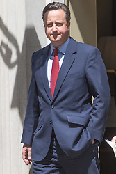 Prime Minister David Cameron leaves 10 Downing Street in London moments after it was announced that former Mayor of London Boris Johnson would not be running for the leadership of the Conservative Party.