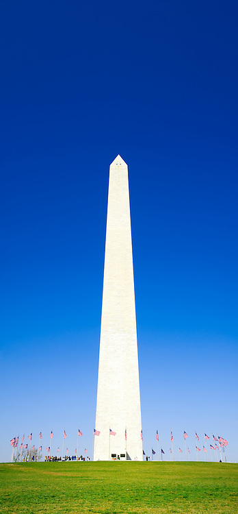 Washington Monument with a clear blue sky. High resolution panorama.