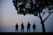 Brazilian Army soldiers patrolling the areas of Copacabana beach during the United Nations Conference on Sustainable Development, or Rio+20 in Rio de Janeiro, Brazil, Friday June 15, 2012.