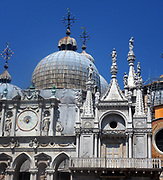 Roof of the Cathedral Basilica of Saint Mark (known as Saint Mark's Basilica), Venice, Italy. An outstanding example of Byzantine architecture. The basilica was consecrated in 1094, the same year in which the body of Saint Mark was supposedly rediscovered in a pillar by Vitale Faliero, doge at the time.