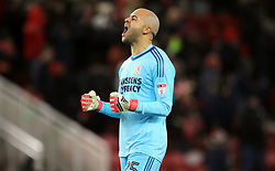 Middlesbrough goalkeeper Darren Randolph celebrates his side going ahead in the game during the Sky Bet Championship match at the Riverside Stadium, Middlesbrough.