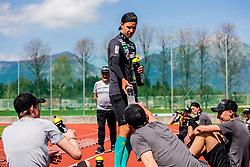 Tilen Bartol of national ski jumping team during training of Slovenian Ski Jumping team, on April 25th, 2019 in Sports Park Kranj, Kranj, Slovenia. Photo by Grega Valancic / Sportida