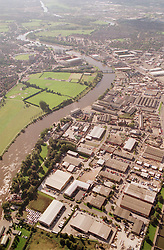 Aerial view of Colwick industrial area beside the river Trent in Nottingham, The picture; which is looking westwards; clearly shows the meanders in the river,  The large green area on the left of the river is Hook Meadow,