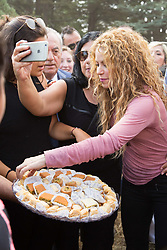 Colombian singer Shakira eats oriental sweets in the northern Lebanese mountain village of Tannourine, Lebanon on July 13, 2018. In this village where her paternal grandmother was born, Shakira plants a cedar and has a park named after her. Photo by Eric Dib-Balkis Press/ABACAPRESS.COM