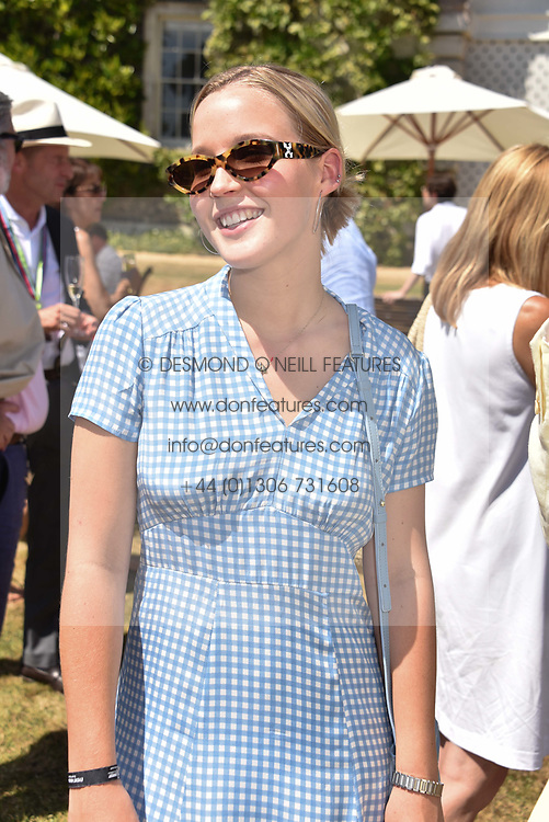 Lady Eloise Gordon-Lennox at the 'Cartier Style et Luxe' enclosure during the Goodwood Festival of Speed, Goodwood House, West Sussex, England. 15 July 2018.