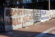 Political graffitti outside Casa Rosada - Argentina's Parliament, Buenos Aires, Argentina.