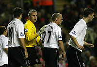 Photo: Paul Greenwood/Sportsbeat Images.<br />Liverpool v Fulham. The FA Barclays Premiership. 10/11/2007.<br />Fulham goalkeeper Anti Niemi (C) tries to calm his palyers